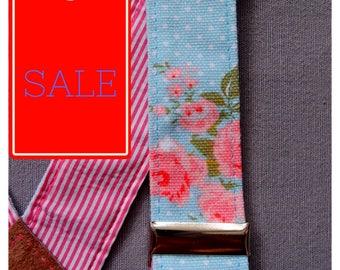 SALE 20 %, Light Blue Woman Suspenders with Delicate Flowers, Floral Suspenders,  Romantic Braces, Striped Suspenders, Daughter Gift