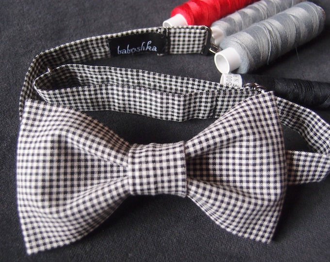 Checkered Bow tie for Men, Black White Bow tie for Women, Unisex Bow Tie, Gingham Bow Tie, Casual Bow tie, Checkered Pattern, Bachelor party