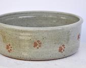 Dog bowl, ceramic dog bowl, large pottery dog bowl. Handmade dog bowl with paw prints, Large dog bowl