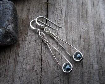 Sterling Moon Catcher (TM) Earrings with Swarovski Black Pearls - Minimalist