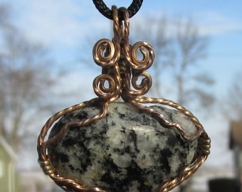 Granite in Bronze wire necklace