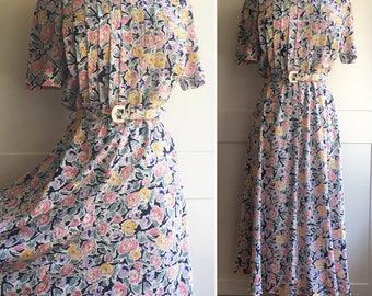 1980s Does 1940s Floral Day Dress, Liz Claiborne Dresses Label Spring Summer Floral Dress with Matching Belt