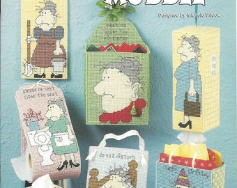 Mildred's Muddle Plastic Canvas Pattern Book, Boutique Tissue Cover, Toilet Tissue Holder, Door Sign, Tote bag, Card Box, Home Decor