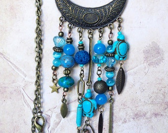 Ethnic bib necklace Tribal statement necklace Turquoise brown bead gygpsy bohemian jewelry