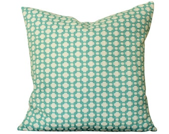 Designer Schumacher Betwixt Pillow Cover in Teal Pool Blue