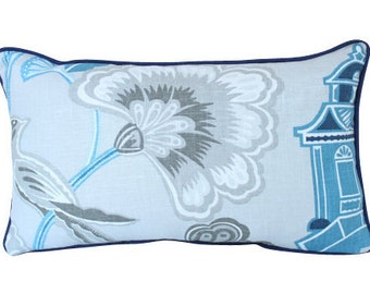Designer Blue and Grey Chinoiserie Lumbar Pillow with Piping