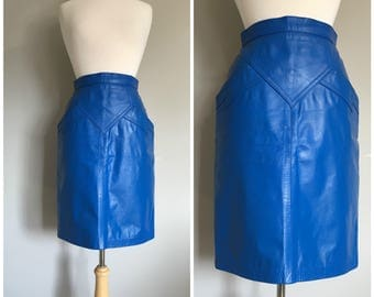 Vintage COBALT BLUE LEATHER Skirt/Bright Blue Leather Skirt/size Xsmall-Small