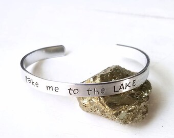 Take me to the Lake Bracelet, Summer Outdoors, Vacation Jewelry, Lake House Fourth of July or Memorial Day Gift, Summer Fun