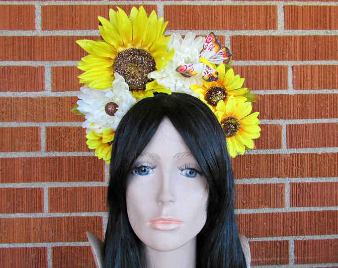 Sunflower Crown, Floral Crown, Flower Crown Headband, Flower Head Wreath, Floral Headpiece, Festival, Easter, EDC, Day of the Dead, Spring