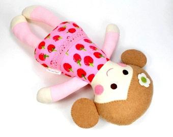 Organic Baby Doll -- 100% Organic Rag Doll -- Organic Toy -- Rosy Organic Doll -- Plant Dyed Organic Felt and Cotton Exterior -- Baby Shower