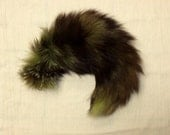 Fox Fur Tail on clip - green tinted