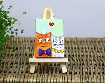 Valentine's day gift Canvas art Love small painting Cats canvas painting Small art animals Cute tiny painting Small canvas Love painting