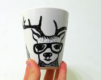 Deer decor Deer mug - porcelain mug - reindeer mug - coffee mug gift - nature lovers gift woodland - deer design - antler mug - stag mug