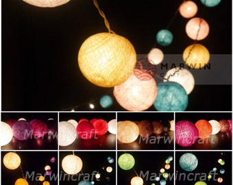 34 Colour Tones of 35 Cotton Balls Fairy String Lights Party Patio Wedding Floor Garland Hanging Wall Gift Home Decor Living Bedroom Holiday