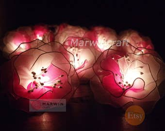 Battery or Plug 20 White Pink Big Rose Flower Fairy String Lights Hanging Party Patio Wedding Garland Gift Home Living Bedroom Holiday Decor
