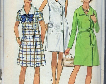 Vintage 1969 Simplicity 8142 Mod Side Closing Dress Sewing Pattern Size 12 Bust 34""