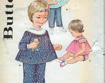 """Vintage 1960 Butterick 9917 Toddlers' Play Coordinates Sewing Pattern Size 1/2 Breast 19"""""""