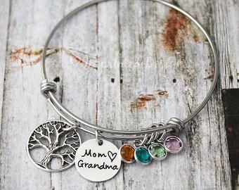 Mothers Bracelet - Family Tree Bangle - Mom Grandma - Personalized - Custom - Nana - Mimi - Gigi - Grammy - Charm Bracelet - Mother's Day