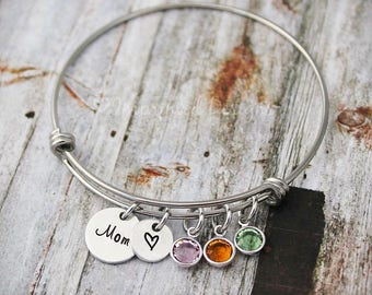 Charm Bracelet - Mother Bracelet - Personalized - Wire Bangle - Adjustable - Birthstones - Hand Stamped - Mother's Day - Gift for Mom