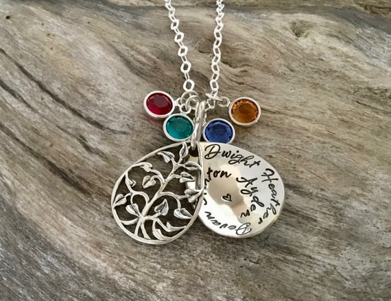 Personalized Necklace/Personalized Name Necklace/Personalized Jewelry/Name Necklace/Tree Locket/Custom Name/Custom Hand Stamped Gift