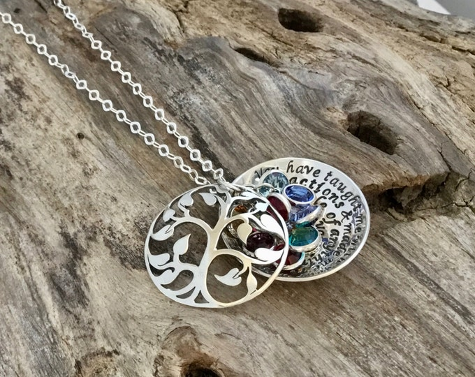 Tree-of-Life Necklace / Tree-of-Life Pendant / Locket pendent / Sterling Silver Tree-of-Life / Birthstone Necklace for Mom