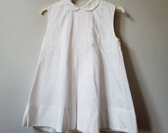 Vintage Girls White Sleeveless Shift Dress with Peter Pan Collar- Size 3t- New, never worn