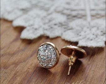 Druzy Earrings, Gold Druzy Earrings, Silver Druzy Earrings, Faux Druzy Earrings, Druzy Stud Earrings, Druzy Jewelry, Gemstone Earrings
