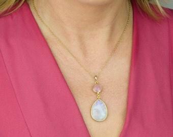 Custom Birthstone Necklace, Bridesmaid necklace, moonstone necklace, large pendant necklace, bezel stone necklace, natural gemstone jewelry
