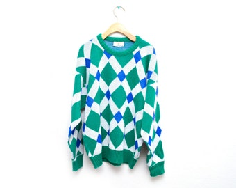 90s Geometric Diamond Patterned Pullover Sweater Slouchy Size XL