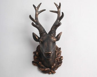SALE - The Millie in Antique Bronze - Resin Deer Head w/Filigree- Bronze Deer Antlers Mounted - Faux Deer Head - Faux Taxidermy