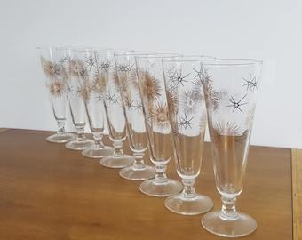 Set of 8 Starburst Print Champagne Glasses