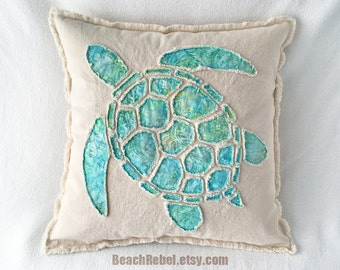 Sea turtle pillow cover appliqued with aqua leaf batik and natural unbleached distressed denim boho pillow cover 20""