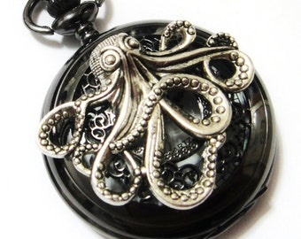 Octopus Black Lace Pocket Watch Necklace - Pocket Watch Pendant