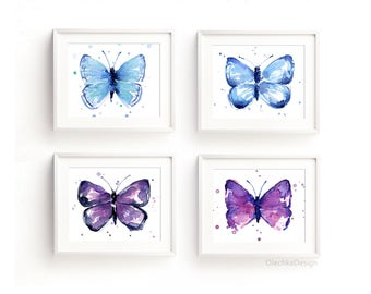 Butterfly Art Print Set Blue Purple Butterflies Wall Art Decor Nursery Butterfly Blue Purple Butterfly Home Decor Animal Set of 4 Prints