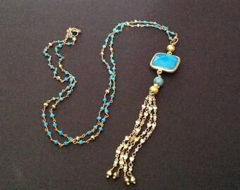 turquoise tassel necklace, turquoise bead necklace, turquoise necklace, long tassel necklace, gold tassel necklace, long gold necklace