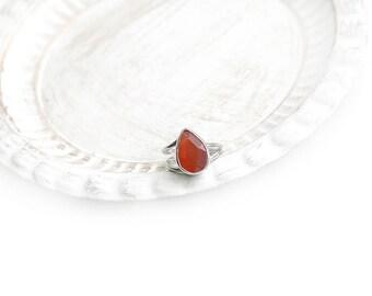 Adjustable Drop Orange Cat's Eye Stone Silver Plated Ring