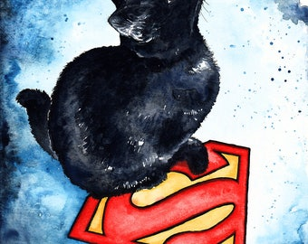 Supercat: Fine Art Watercolour Black Cat DC Print