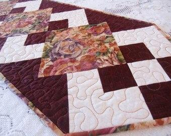 Quilted Roses Table Runner, Shabby Chic Topper, Housewarming, Hostess Gift, Roses, Burgundy and Cream, Ready to Ship, OOAK, Handmade In USA