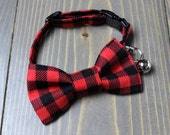 Red and Black Buffalo Plaid Lightweight Fabric Cat Collar with Matching Bow Tie, Breakaway Clasp, Safety Buckle, Adjustable, Bell