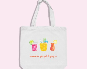 tropical drink tote - beach tote - bachelorette party tote - cocktail tote - family reunion favor - bachelorette party favor - beach bag