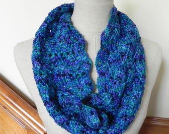 Crochet infinity scarf in shades of blue and purple with lacy design