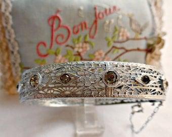 Intricate Vintage Art Deco Rhodium Filigree Bangle Bracelet With Paste Rhinestones And Safety Chain