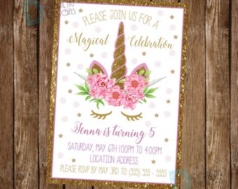 Unicorn Invitation - Unicorn Birthday Invitation - Unicorn Party Invitation - Unicorn Floral Invite - Unicorn Party Invite - Magical Party