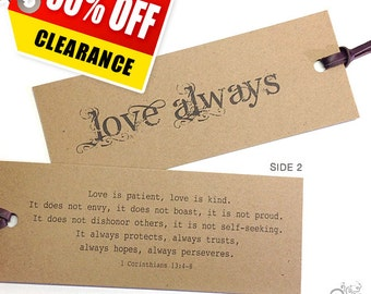 CLEARANCE / Love Is Patient Bookmark / Valentines Bookmark / Love always / Wedding Quote / Bible Verse / 1 Corinthians 13:4-8