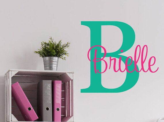 Initial Name Girls Decal - Girls Name Decals - Baby Nursery Decals