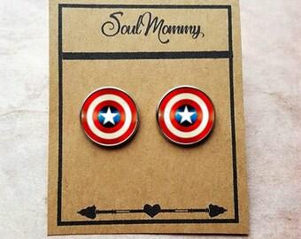 Captain America Earrings Stud - Shield  Earrings