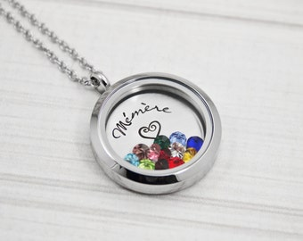 Mémère - Grandmother Necklace - Hand Stamped Stainless Steel Locket - Grandkids' Birthstones - Personalized Jewelry - Grandmaman, Grand-Mère