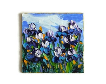 Iris Field Mini Small Oil Painting Flower Original Art Textured Impasto Palette Knife Gift for Her 4x4 with FRAMED OPTION