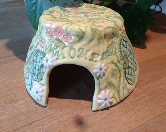 Small Pet Home/Hide -Pottery Ceramic Hamster/Rat/Gerbil House - Fully Washable -Small Animal Cage Accessories- Pet Cage Supplies made in UK