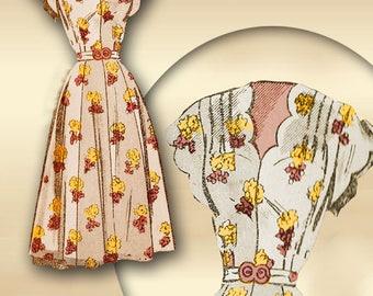 Dress Pattern 50s Vintage Mail Order 2293 Scalloped Neckline or Sweetheart Neckline *Scalloped Short Sleeves or Wrist Length * Gored Skirt